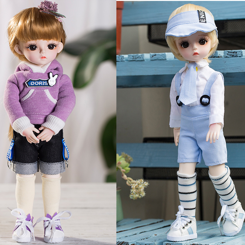 Cute Face 30cm BJD Doll 21 Movable Jointed DIY Bjd Dolls School Dress Toys BJD Changable long Hair DIY Toy Make UP Gift for Girl