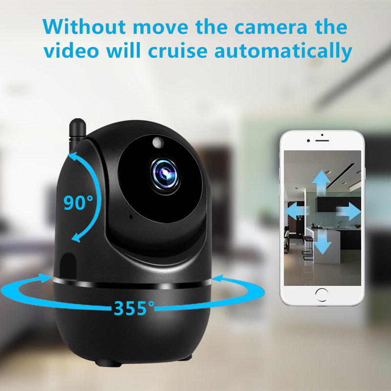 Black Smart Home Security Surveillance 1080P Cloud IP Camera Auto Tracking Network WiFi Camera Wireless CCTV YCC365