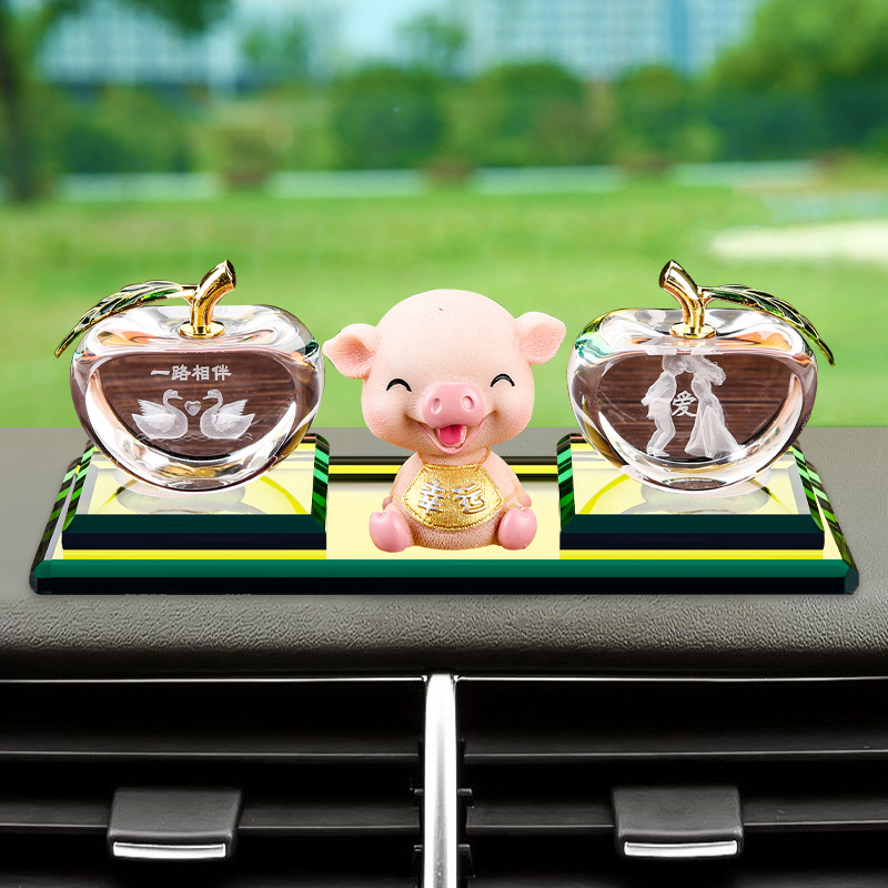 Cartoon Car Decoration Rotating Pigskin Small Car Accessories Perfume Seat Car Mounted Decoration Dashboard Supplies