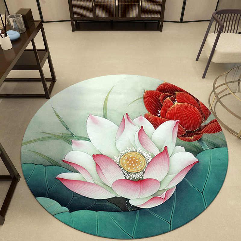 거실을위한 3D 꽃 라운드 카펫 Parlor Rugs 침실 지역 깔개 바닥 매트 Non-slip Door Mat Tapete Para Sala Home Decoration