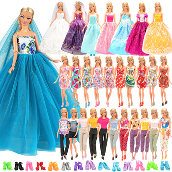 25 Items/lot Doll accessories =3 long tail party dress +10 mini doll dresses +2 Top pants clothes +10 Shoes Object For Barbie accessories new 11 5 12 doll clothes long tail evening party wedding party lace dress gift present for barbie outfit costumes