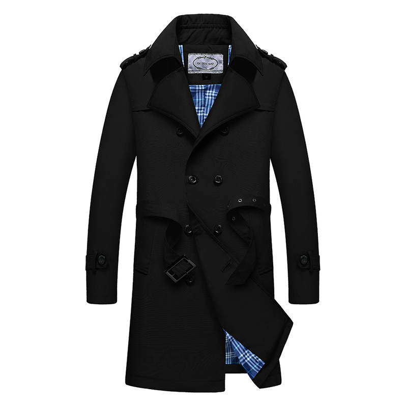 Trench Coat Men Classic Double Breasted Mens Long Coat Mens Clothing Long Jackets & Coats British Style Overcoat M-4XL Size