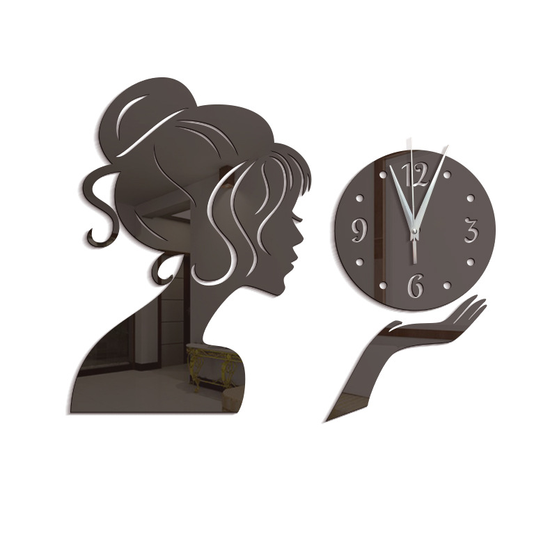 Creative Diy Wall Clock Girl Mirror Acrylic Clocks Wall Home Decor Gold Silent Watch Home Modern Wall Clock Sticker Saat FZ485