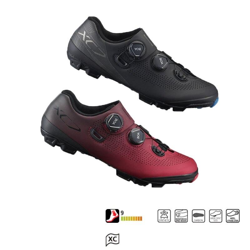 Shiman XC7 chaussures de montagne autobloquantes XC tout-terrain Boa®Bouton L6 en caoutchouc bottomCarbon renforcé de fibres de nylon dureté 9