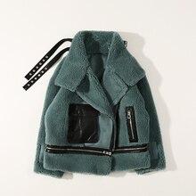 Jacket Coat Women Lamb Fur Korean Colorful Winter Fashion Short for 192 Pellet Motorcycle