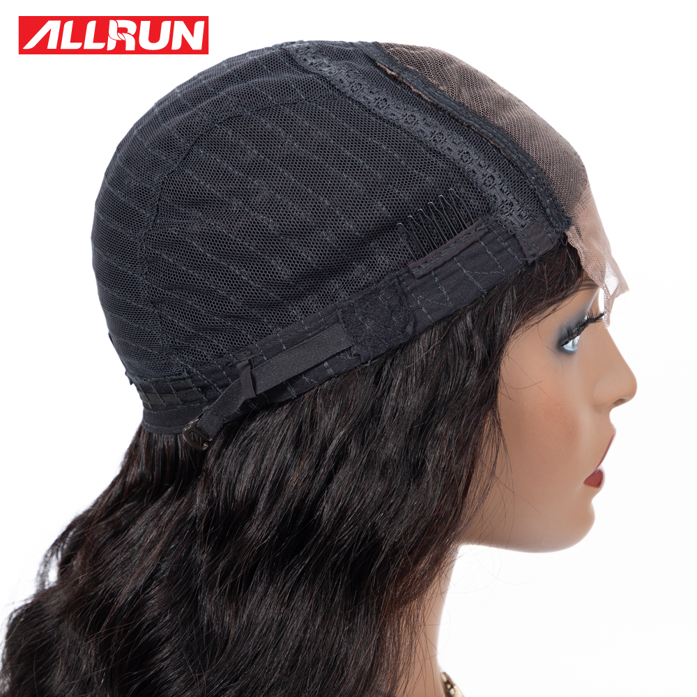 H91040239952e4ac1aa4712add63182287 Allrun 4*4 Lace Closure Wig Malaysia Human Hair Wigs Body Wave 130% Low Ratio with baby hair Non-Remy Short Bob Lace Wig