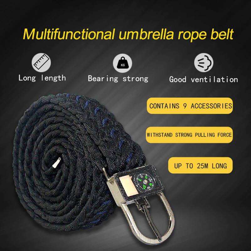 Military Tactical Umbrella Rope Belt Multi-functional Safety Survival Tool Nylon Braided Belt For Outdoor Hiking Camping Travel