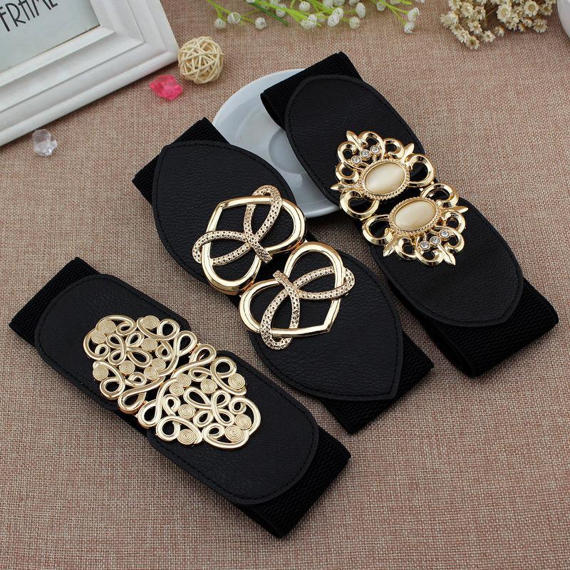 65cm Female Fashion Black Waistband Wide Waist Elastic Stretch Belt for Women Cinch Waistband Dress Coat Clothing Accessories