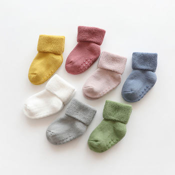 Newborn Baby Socks Terry Anti Slip for Winter Warm Thick Girls Boys Solid Infant Clothes Accessories - discount item  35% OFF Baby Clothing