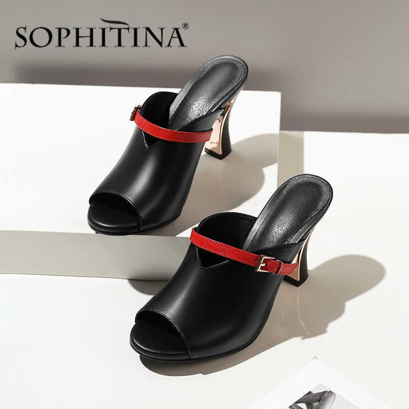 SOPHITIA/тапочки с пряжкой; Женские летние модные дышащие тапочки с покрытием на толстом каблуке; Удобные и элегантные Молодежные сандалии; SO478