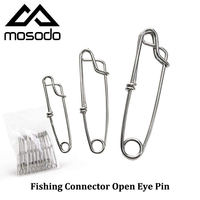 Mosodo 10pcs/lot Fishing Snap Open Eye Clip Close Eye Connector Swivels Accessories Stainless Steel Size 1.8 2 2.6