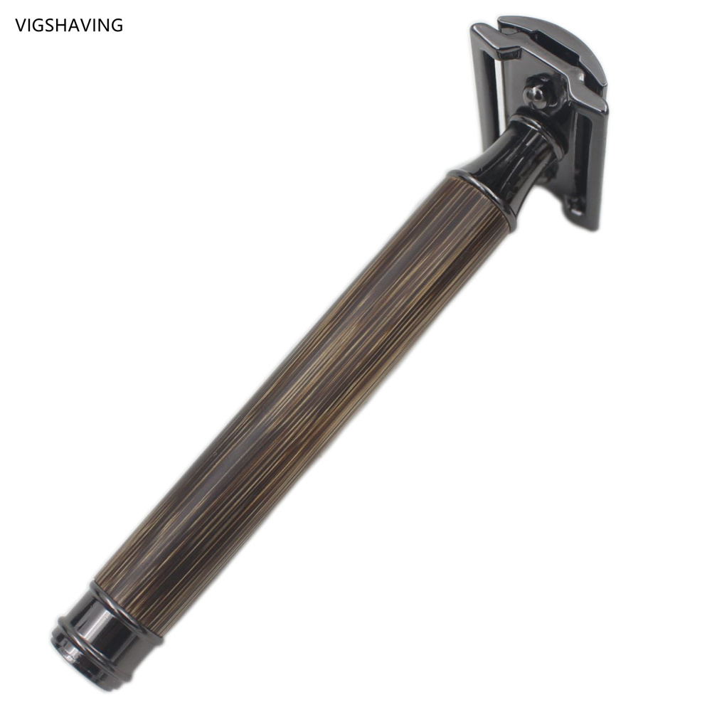 VIGSHAVING  Baber Men Double Edge Safety Baber Men Natural Gunmetal Black Bamboo Safety Razor