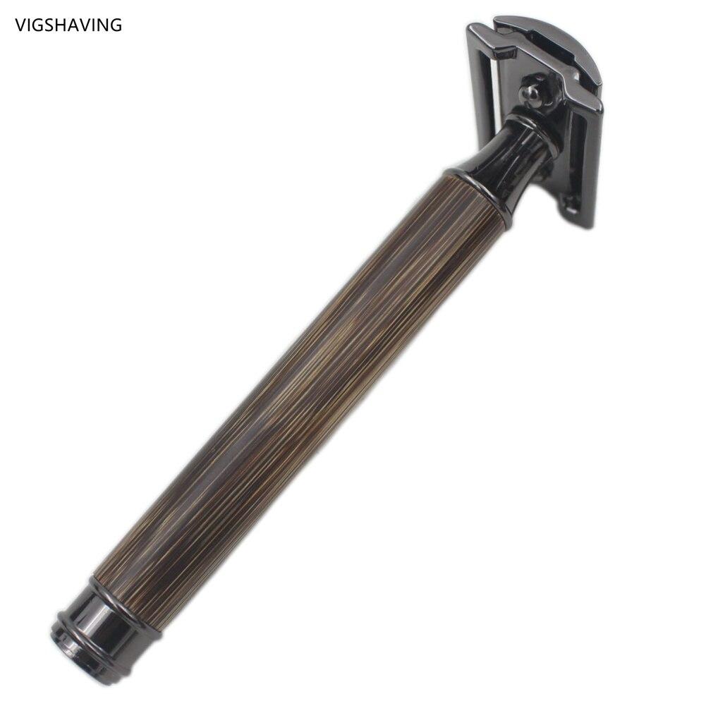 VIGSHAVING  Baber Men Double Edge Safety Baber Men Natural Gunmetal Black Bamboo Safety Razor