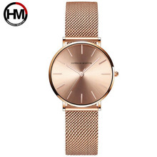 Brand Wrist Watch for Women Stainless Steel Mesh Band Rose G
