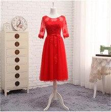 Wholesale Half Sleeve Custom Made Lace Applique Tea Length Bridesmaid Dresses