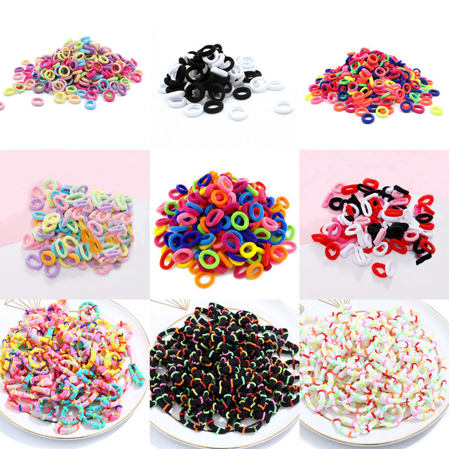 50/100pcs Baby Girls Colorful Small Elastic Hair Bands Children Ponytail Holder Kids Headband Rubber Band Hair Accessories 2