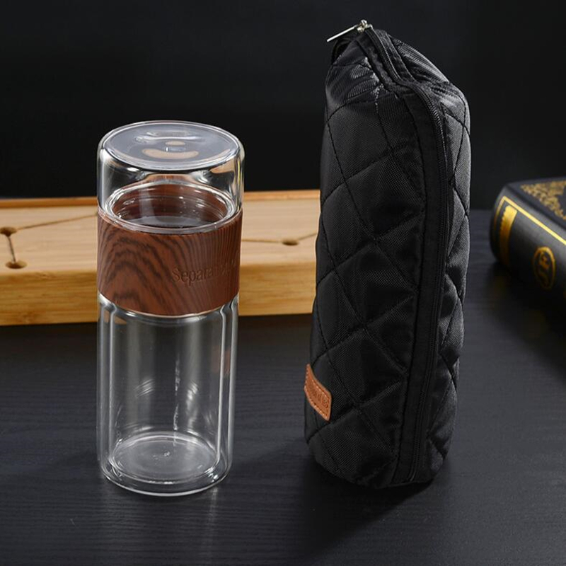 200ml Glass Tea Water Bottle Travel Drinkware With Bag Portable Double Glass Tea Infuser Tumbler Separation Of Tea Filter Bottle|Water Bottles|   - AliExpress