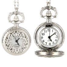 Vintage Women Quartz Pocket Watch Alloy Openable Hollow Out Flowers Lady Girl Sweater Chain Necklace Pendant Clock Gifts