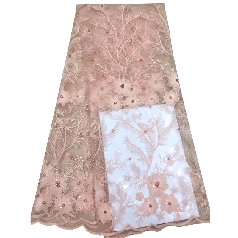 Latest African Lace Fabric Excellent Floral Embroidered With Sequins Beaded Best Tulle Lace For Wedding Dress кружевное платье
