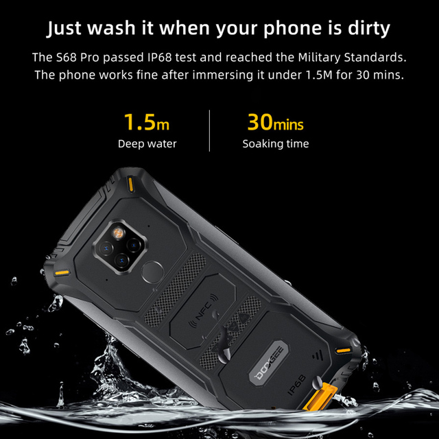 DOOGEE S68 Pro Rugged Phone IP68 Waterproof Helio P70 Octa Core 6GB 128GB Wireless Charge NFC 6300mAh 12V2A Charge 5.84 inch FHD