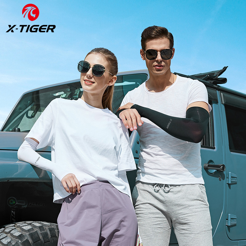X-TIGER Arm Sleeves Ice Fabric Breathable Anti-UV Running Cycling Sleeve Men Women Fitness Outdoor Sport Cycling Arm Warmers