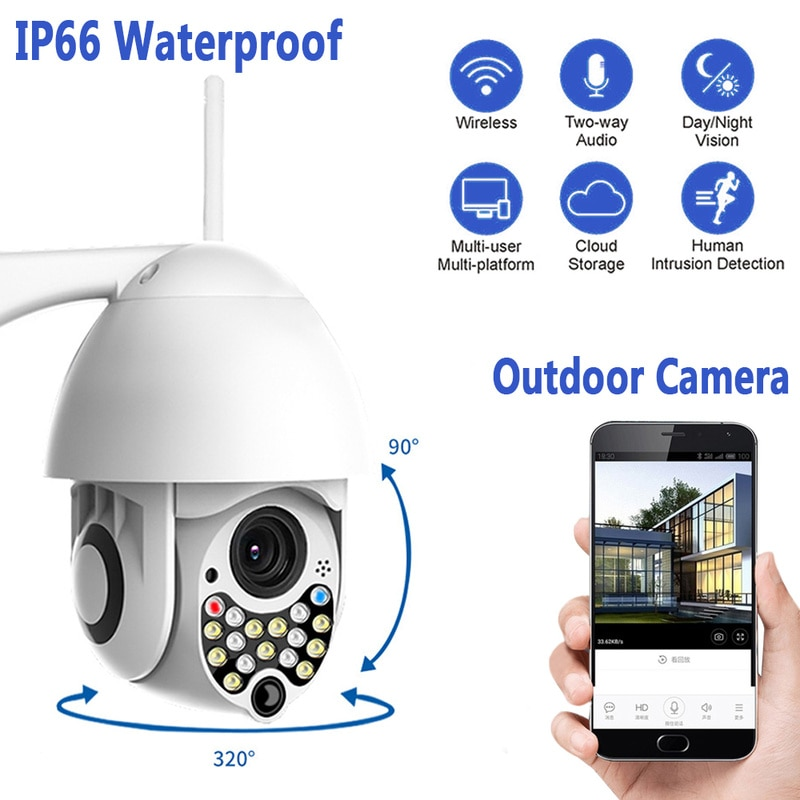 1080P Outdoor Wifi Camera With Siren Light Auto Tracking Cloud Home 200W Security IP Camera 17LED 2MP High-speed CCTV IR Camera