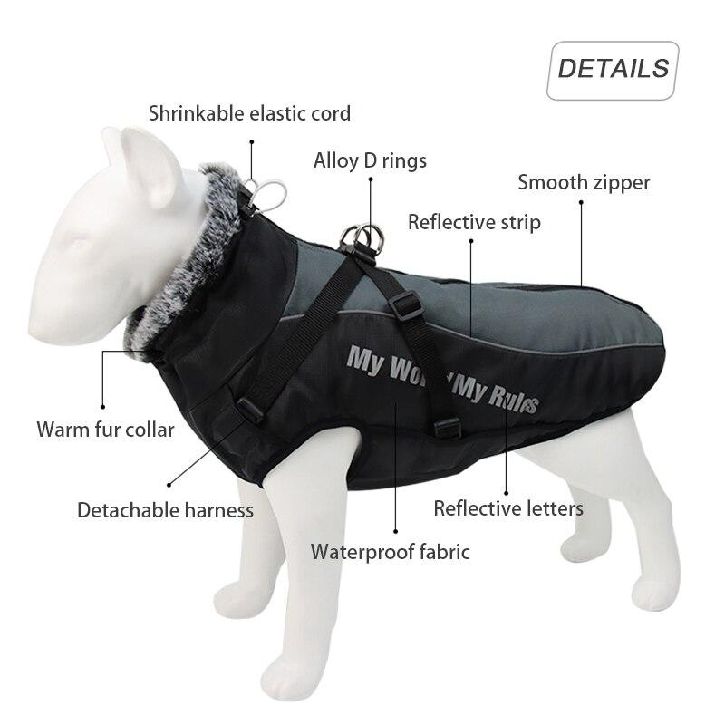 Куртка для больших собак, меховой воротник, зимняя одежда для собак, водонепроницаемое пальто для больших собак со съемной подвязкой, наряд для французского бульдога, Мопса-2