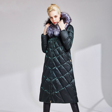 High quality 90% white duck down women's jacket coat coated long down jacket 2019New winter warm hooded women's down robes XL недорого