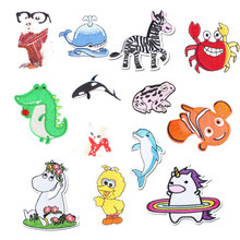 Ocean Animal Iron on Patches for Clothing DIY Embroidery Stripe Clothes Sequin Horse Duck Applique Badge Decal Cloth Fabric