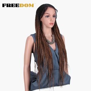 Image 4 - Свободный плетеный синтетический кружевной передний парик для женщин, бесплатная пробежка, красный Омбре, коричневый конский хвост, вязанная коса, волосы, новый стиль, мода