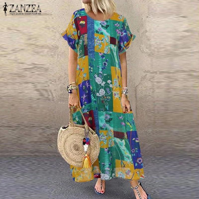 2019 Summer Floral Printed Dress ZANZEA Vintage Bohemian Party Sundress Women Casual Short Sleeve Maxi Long Vestidos Female Robe