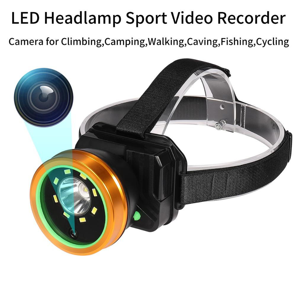 Headlamp Camera Waterproof Super Bright Sport Video Recorder Head Light Cam ForClimbing Camping Walking Caving Fishing Cycling