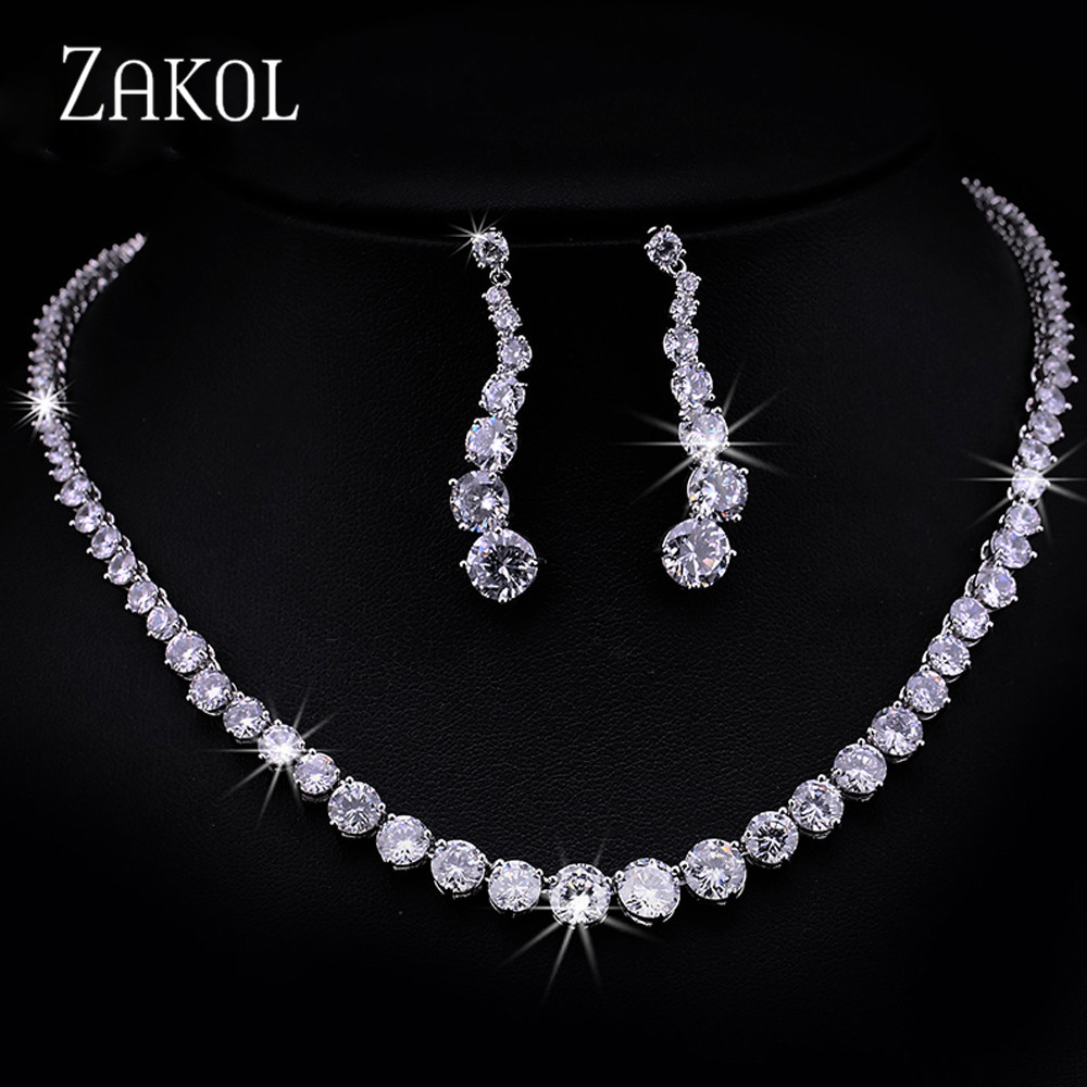 ZAKOL Fashion Sparking Clear Round Cut Cubic Zircon Women Jewelry Sets for Brides Wedding Evening Jewelry Factory Price FSSP097