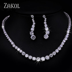 ZAKOL Fashion Sparking Clear Round Cut Cubic Zircon Women Jewelry Sets for Brides Wedding Evening Jewelry Factory Price FSSP097