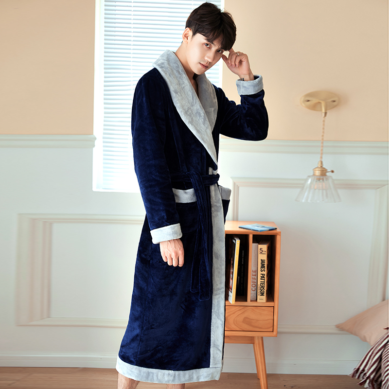 Bathrobe Men Dressing-Gown Velvet Flannel Male Plus-Size New Thick Warm Turndown-Collar