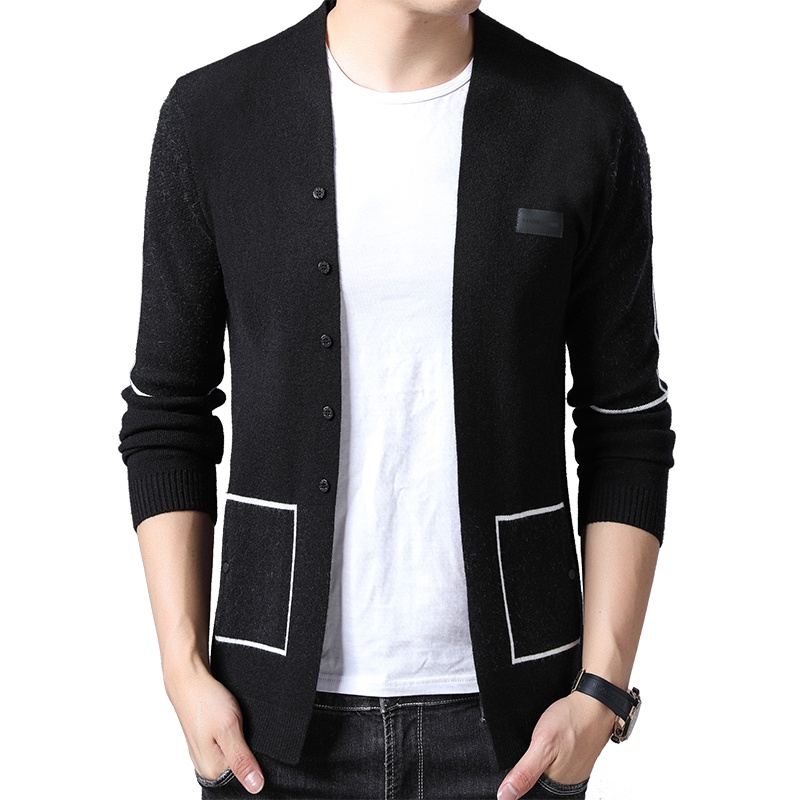 BROWON Brand Men Knitted Button Cardigans Sweaters New Casual Men Pullover V-Neck Outerwear Clothing Black Grey Sweater Men