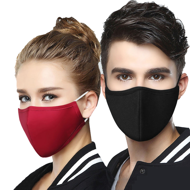 1Pcs BYEPAIN Fashion Cotton PM2.5 Black mouth Mask Activated carbon filter Windproof Mouth-muffle masks For Man Woman 2