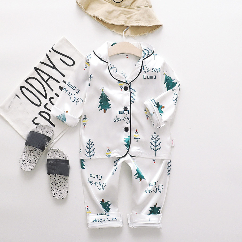 Girls Pajamas 2020 Spring Summer Long Sleeve Children's Sleepwear Set Silk Pajamas Suit Boys Pyjamas Sets For Kids Sleepwear Set