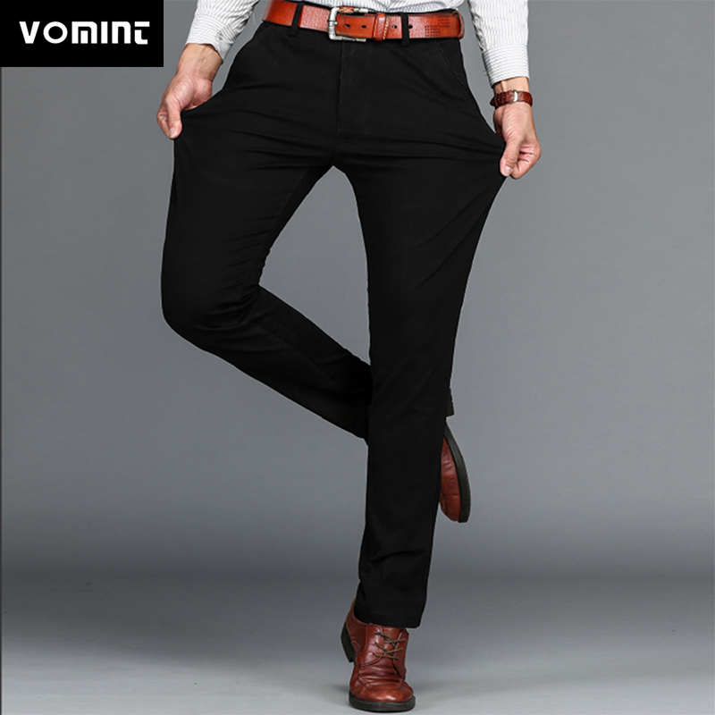 Vomint Brand Mens Pant Classics Casual Business Stretch Trousers Regular Straight Pant Black Blue Khaki 4 Colors Plus Size 44 46
