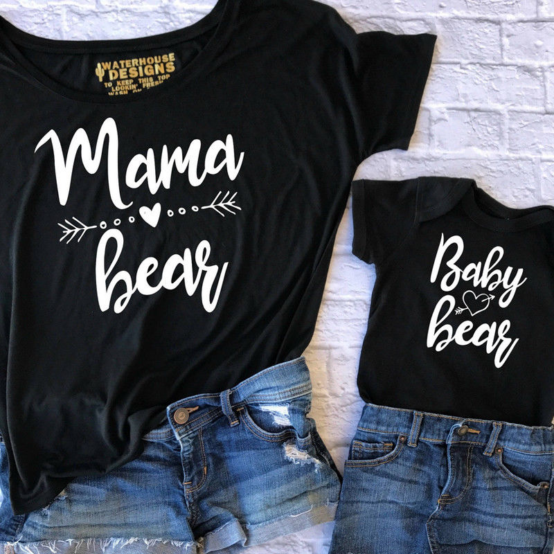 Pudcoco Family Matching Outfits T-Shirt Women Mama Baby Kids Bear Matching Shirts Family Clothes Tee Tops