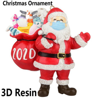 Christmas 3D Resin Claus Gift 2020 Christmas Ornament Pendant Family Gift Decoration Party Decoration Santa Xmas Tree Ornament image