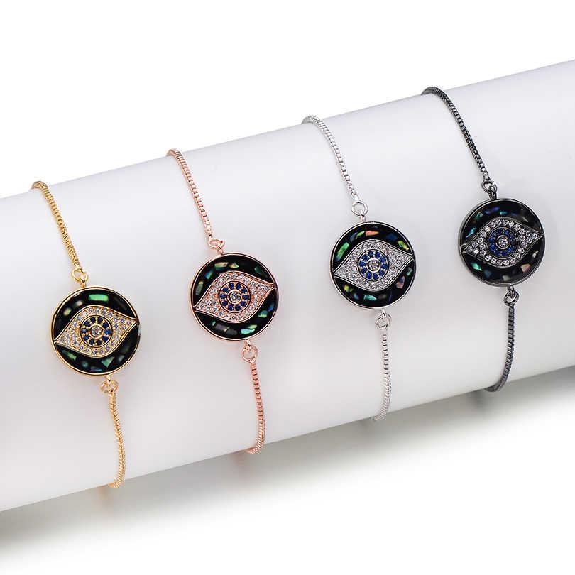 Pipitree Phổ Biến Vỏ Tự Nhiên Tròn Charm DIY Đính Đá Cubic Zirconia Ác Mắt Quyến Rũ Vòng Tay Kết Nối Trang Sức Làm Phụ Kiện