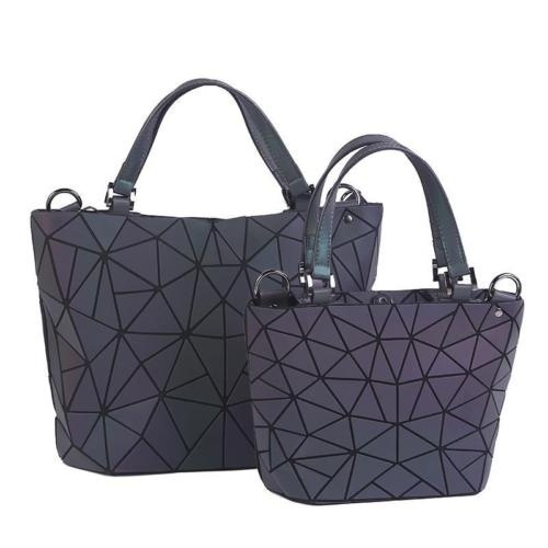 Women Luminous Handbag Geometry Folding Shoulder Tote Crossbody Bags Set Hologram Laser Plain Purse Wallet Large Capacity Bags