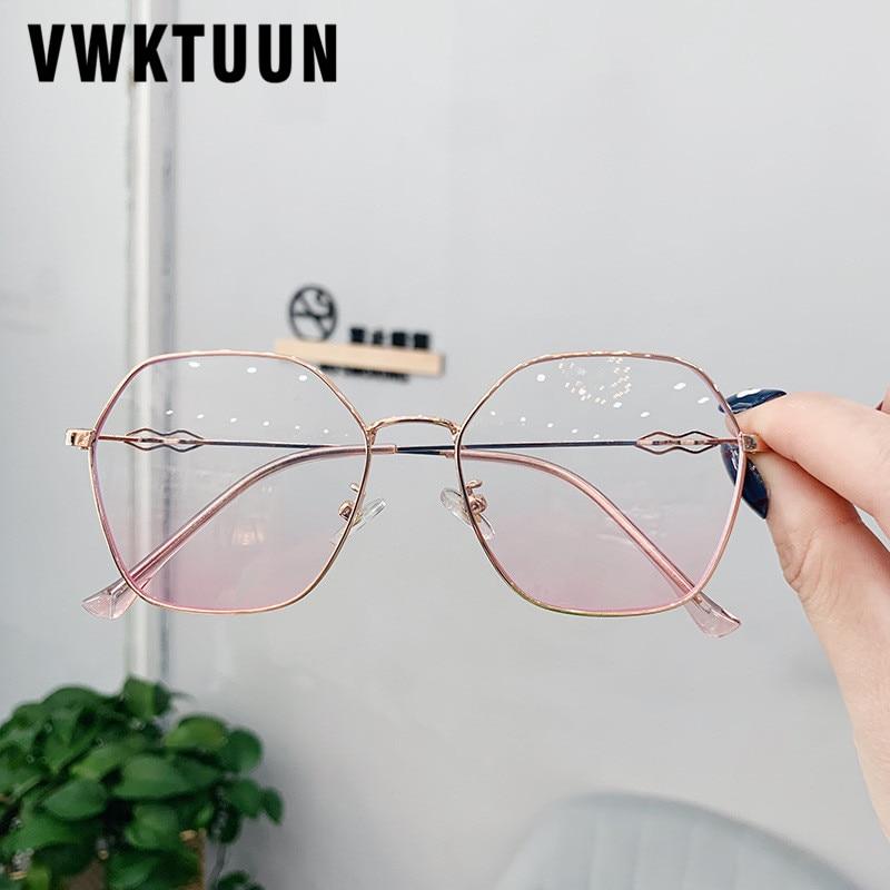 VWKTUUN Polygon Glasses Frame Clear Lens Eyeglasses Vintage Metal Myopia Glasses Frame Fake Glasses Optical Glasses Frames