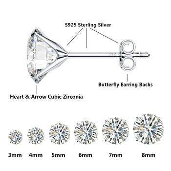 Jiayiqi Real 925 Sterling Silver Earrings 3-8mm Four Claws Crystal Zircon Silver Stud Earrings For Women Sterling Silver Jewelry 4