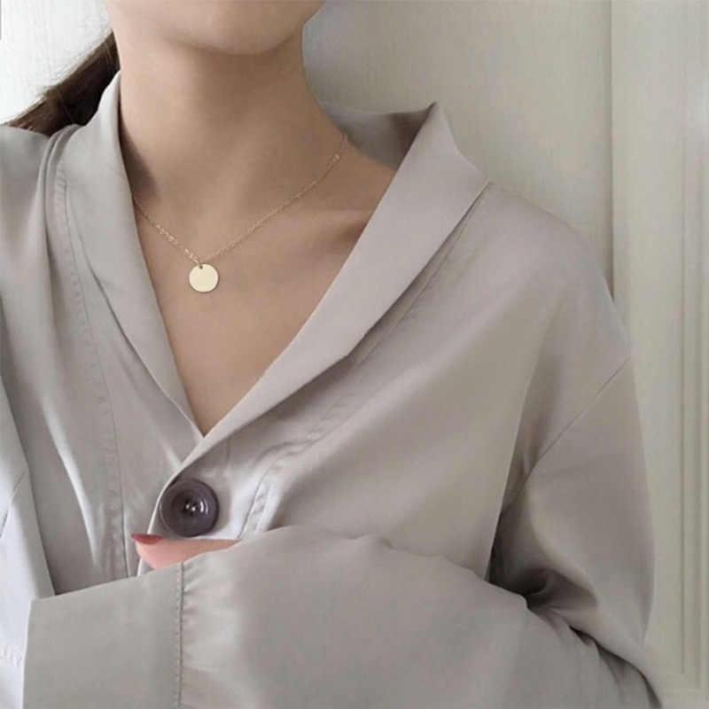 Simples pequeno redondo fina corrente temperamento clavícula corrente simples feminino colar de correspondência jóias por atacado