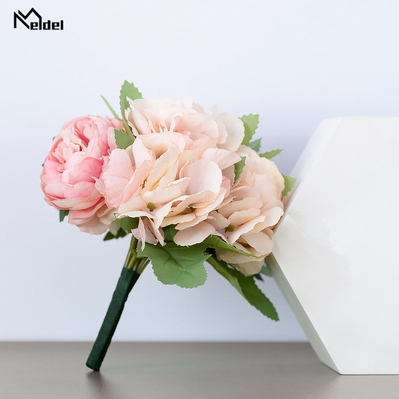 Silk Peonies Hydrangea Artificial Flowers Bouquet Silk Fake Flowers Wedding Home Decor Living Room Christmas Accessories Floral
