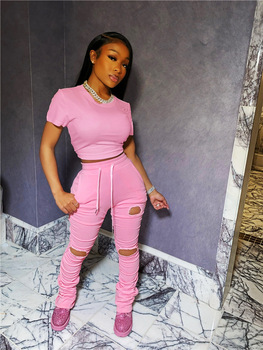 Echoine Summer Two Piece Set Ruched Pleated stacked pants Women Tracksuit Matching  Hollow Out Skinny Bodycon Club Outfits
