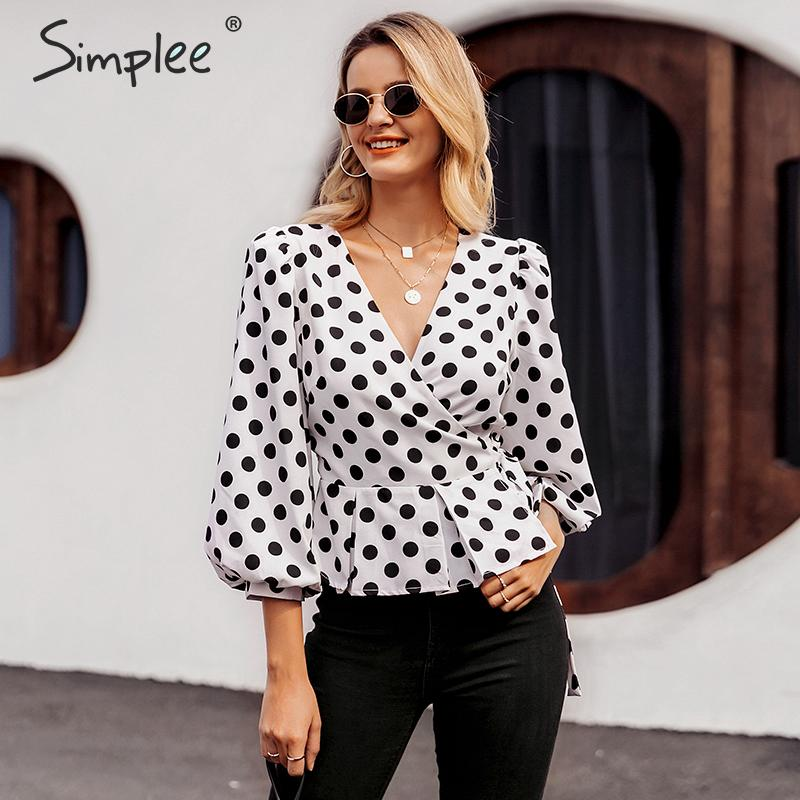 Simplee Vintage V Neck Polka Dot White Shirt Women Fashion Wrap Lace Up Peplum Blouse Ladies Highstreet Lantern Sleeve Blusa