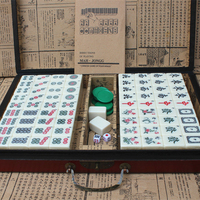 Mahjong Portable Folding Wooden Boxes Set Table Game Mah jong Travelling Board Game Indoor Antique Leather Box English Manual